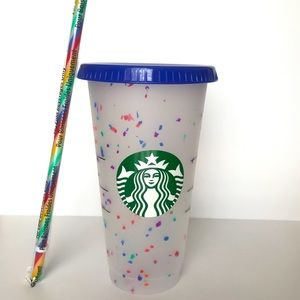 Starbucks reusable confetti cup with rainbow straw
